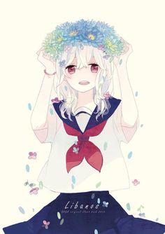 Anime girl...flowers...school girl...kawaii