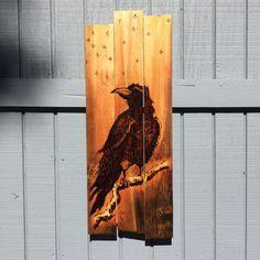 Crow wood burning on cedar plank  wall art  by itsalifestyleCA