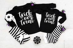 Trick or Treat v4 Black and White Striped Pajamas - Halloween Pajamas - Halloween Clothing by TwinkleTwinkleTees on Etsy Halloween Pajamas, Halloween Outfits, Cotton Pyjamas, Trick Or Treat, 6 Months, Charts, Bleach, Size Chart, Treats