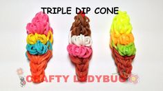 Rainbow Loom TRIPLE DIP ICE CREAM CONE EASY CHARM Tutorial by Crafty Lad...