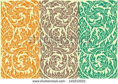 Horizontal seamless pattern in oriental style