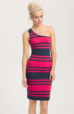 French Connection Stripe Jersey One Shoulder Sheath Dress available at Nordstrom