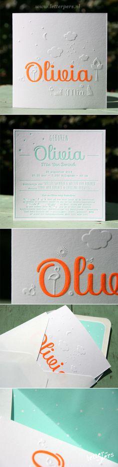 letterpers_letterpress_geboortekaartje_Olivia_oranje_fluor_neon_preeg
