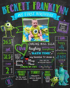 Monster's Inc. Birthday Chalkboard Sign for by HaleyMadisonDesign, $22.00