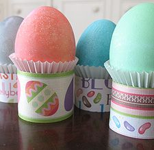 Easter Egg Holders: you could use paper towel tube or toilet paper tubes and glue the paper on or paint or roll in glitter, etc...