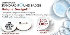 **NEW Product** - Standard Round Badge!!! Get a professional look with our classic round shaped name badges with fabulous 10% discount . Name Badges International offers highly durable Standard Name Badges in round shape at very affordable price, available all over Australia. It is a simple plastic name badge option without any border for a simple yet classic finish.