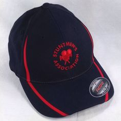 Stuntmen's Association Black Red S/M Fitted Baseball Hat Cap Stuntman Film Movie | eBay