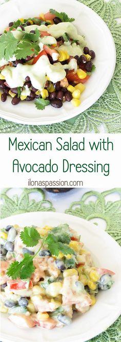 Mexican Salad with Homemade Avocado Dressing by http://ilonaspassion.com