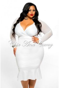 Outlet Plus Size BodyCon Mermaid Bottom V Neck Dress with Mesh Sleeves in White 1x Only Final Sale