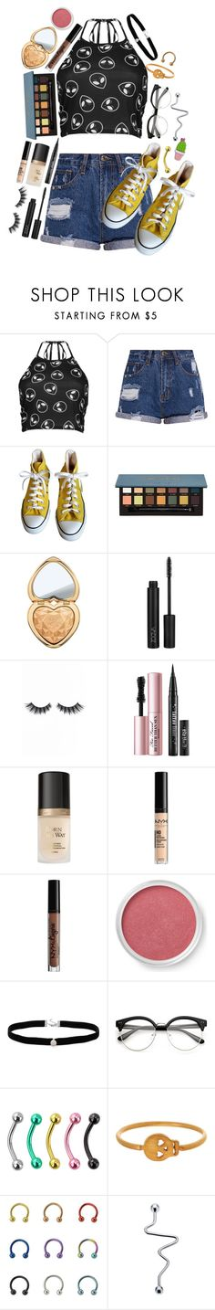 """"" by partypoisonkilljoy ❤ liked on Polyvore featuring Boohoo, Converse, Too Faced Cosmetics, Violet Voss, NYX, Charlotte Russe, Bare Escentuals, Amanda Rose Collection and Dogeared"