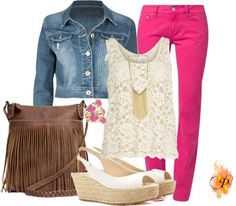 """Jean jacket and Colorful Hot pink Pant"" by pyroprincess on Polyvore"
