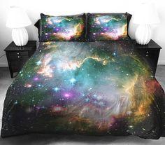 Green galaxy bedding set green galaxy duvet cover by Tbedding