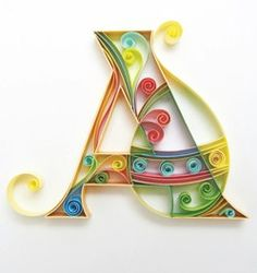 Letter A Quilling Arte Quilling, Quilling Letters, Paper Quilling Designs, Quilling Paper Craft, Paper Crafts, Quilling Tutorial, Quiling Paper Art, Schrift Design, Rolled Paper Art