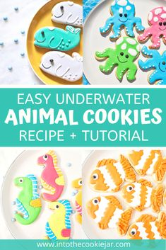 This recipe for underwater animal cookies has 5 of the best sea creature cookie recipes, including fish cookies, seahorse cookies, octopus cookies and more. Make these underwater animal cookies using a sugar cookie base and decorate with royal icing, with more instructions and royal icing tips in the guide. Perfect for kid's birthday parties! Colorful Cookies Recipe, Animal Cookies Recipe, Party Cookies Recipe, Cookie Base Recipe, Royal Icing Cookies Recipe, Vanilla Cookies, Cookie Recipes For Kids, Best Cookie Recipes, Cookie Ideas