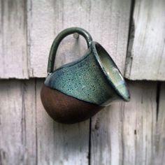 Blue Glazed Chocolate Brownstone Handmade Coffee Mug