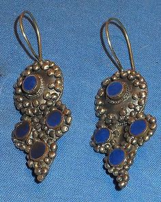 Earrings Cross Lapis Turquoise or Malachite Afghan Kuchi Tribal Alpaca Silver 1""
