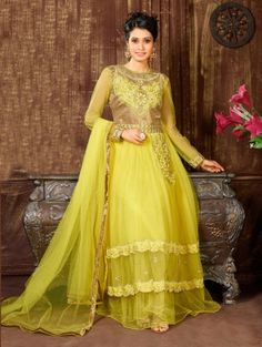 Yellow Net Anarkali Suit with Embroidery Work