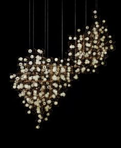 STUNNING works of art from LONNEKE GORDIJN and RALPH NAUTA: Fragile Nature Chandelier 3.1, a large installation made from bronze, LEDs and dandelion seed heads.