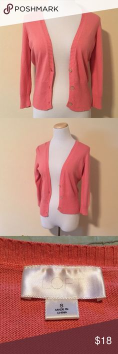 Pink Loft Cardigan Sz S This pink cardigan is so cute! Half sleeves and a light weight make it perfect for year round wear. Sz S from LOFT. LOFT Sweaters Cardigans