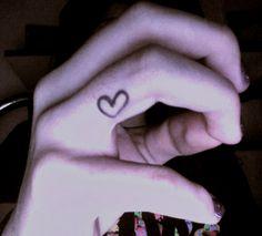 Small cute finger heart tattoo (:   Inkkk   Pinterest