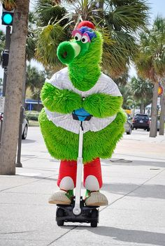 Phillie Phanatic on a Segway -  the Best Mascot. In Sports