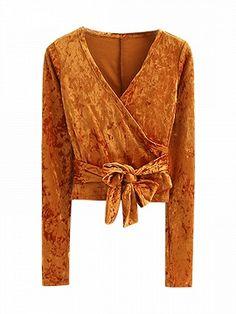 e7378d2c70aa43 Orange V Neck Wrap Tie Waist Crushed Velvet Long Sleeve Top - Choies.com