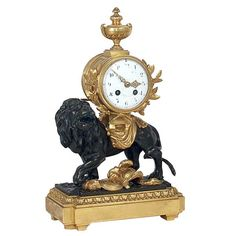 French Vincenti & Cie Bronze Dore Lion Mantel Clock 19th century