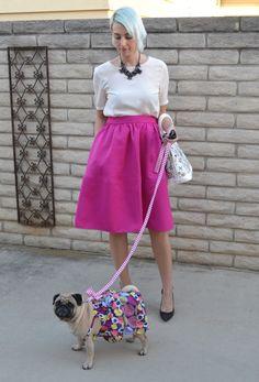 Raspberry midi-skirt