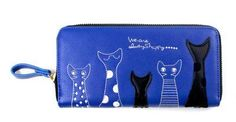 Cat-Embellished Zip-Up Clutch/ID Holder