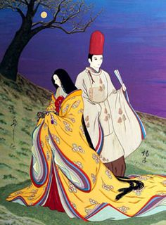 """Artist Agameishi, The Tale of Genji, chapter """"Thoroughwort Flowers"""". of Agameishi took on the major challenge of illustrating every poem in the book. Geisha Anime, Manga Anime, Japanese Culture, Japanese Art, Japanese Style, Western Costumes, Heian Era, Blue Roses, Christmas Wishes"""