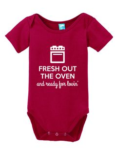 Fresh Out The Oven and Ready for Lovin\' Onesie Funny Bodysuit Baby Romper