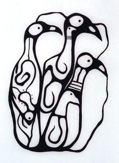 """Just Be Bird Forms"" - Norval Morrisseau South American Art, Native American Art, Native Drawings, Kindergarten Art Lessons, Woodland Art, Jr Art, Haida Art, Aboriginal Artists, Artists For Kids"