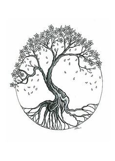 cherry blossom with roots tattoo - in color (rooted in God's love) - Thrive
