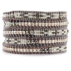 Pyrite Mix Bead Wrap Bracelet on Natural Grey Leather - Chan Luu