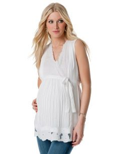 Love Stitch Sleeveless Pleated Maternity Tunic