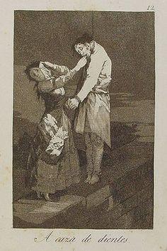 ** Francisco de Goya: A caza de dientes, de la serie Caprichos. Primera colección 1799. Aguafuerte, buril y aguatinta. -16