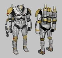 Clone blaze trooper - Heavily armed trooper with a flame thrower, jet pack, wrist blaster and heavy armor