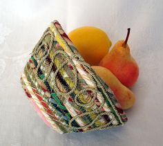 hand made coiled fabric basket.