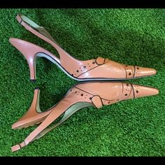 "BCBG Coral Slingback Leather Pumps size 9.5 I love these so much. Be sure and check out the graphic detail on the heel. Only worn once.  3"" heel. Hard to part with. Enjoy! BCBG Shoes Heels"