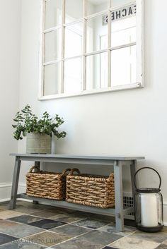 Great little entry bench, with baskets for storage. Love the stone floor! Great little entry bench, with baskets for storage. Love the stone floor! Decoration Entree, Sweet Home, Stone Flooring, Home Living, Living Room, Storage Baskets, Shoe Storage, Bench With Storage, Extra Storage