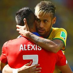 One of the best matches of World Cup 2014. Top scorers and friends Alexis Sanchez (Chile) and Neymar (Brazil).  Photo taken by @bestoffootball on Instagram, pinned via the InstaPin iOS App! (06/29/2014)