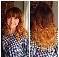 Ombre I created on my client! #ombre #longlayers #full #bangs