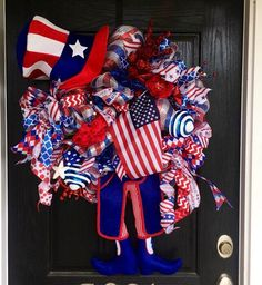 Ready to ship: Fourth of July wreath, Uncle Sam  wreath, patriotic wreath,  American deco mesh wreath, Fourth of July mesh wreath, 4th of Ju by ShellysChicDesigns on Etsy https://www.etsy.com/listing/290166409/ready-to-ship-fourth-of-july-wreath