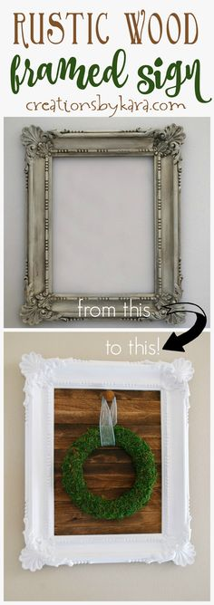 DIY Wood Slat Sign with Frame - this pretty rustic wood sign is an easy home decor project. Perfect for hanging seasonal wreaths. Wood Home Decor, Diy Home Decor Projects, Diy Wood Projects, Unique Home Decor, Home Decor Items, Decor Crafts, Decor Ideas, House Projects, Craft Ideas