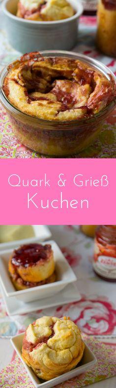 Quarkkuchen mit Grieß und Erdbeere