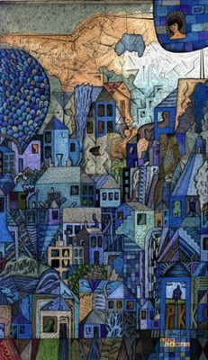 blue city-- draw the city and then have the children come out one at a time, pick a house and color it in with prisma colors