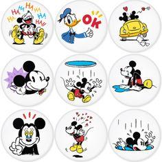 "MICKEY MOUSE 1.75"" Badges Pinbacks, Mirror, Magnet, Bottle Opener Keychain http://www.amazon.com/gp/product/B00C2ZBA50"