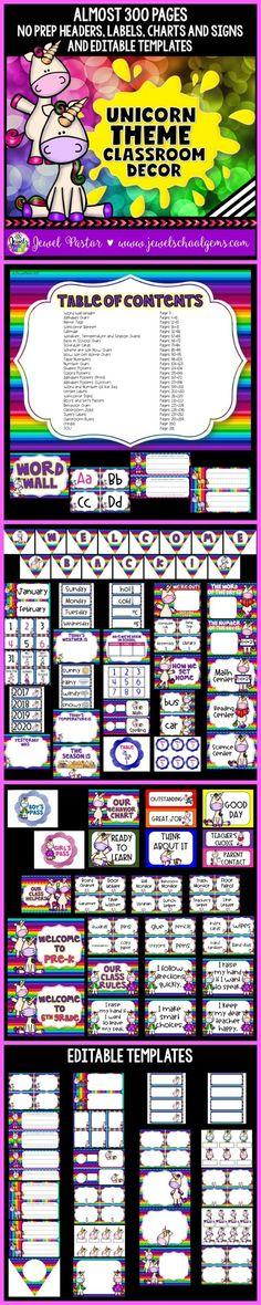 Editable Classroom Decor ~ Uni corny unicorn theme classroom decor editable