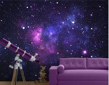 Galaxy wall paper - What do you think of doing a space themed room? Andrew really wants one!