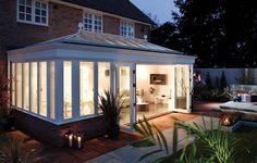Amdega's stunning contemporary hardwood timber orangery for chic, open plan living.